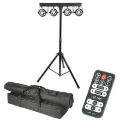 QTX LED PAR Bar Light System with 4 x RGBW Par-Can + Stand + Remote + Bags DMX
